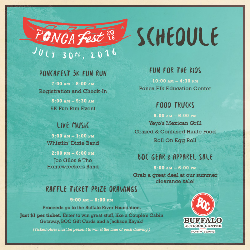 2016 PoncaFest Schedule | Buffalo Outdoor Center