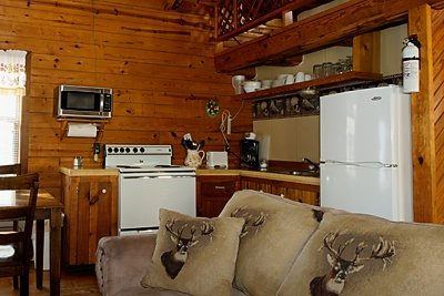 A view of the fully furnished kitchen, Ponca Cabin 4