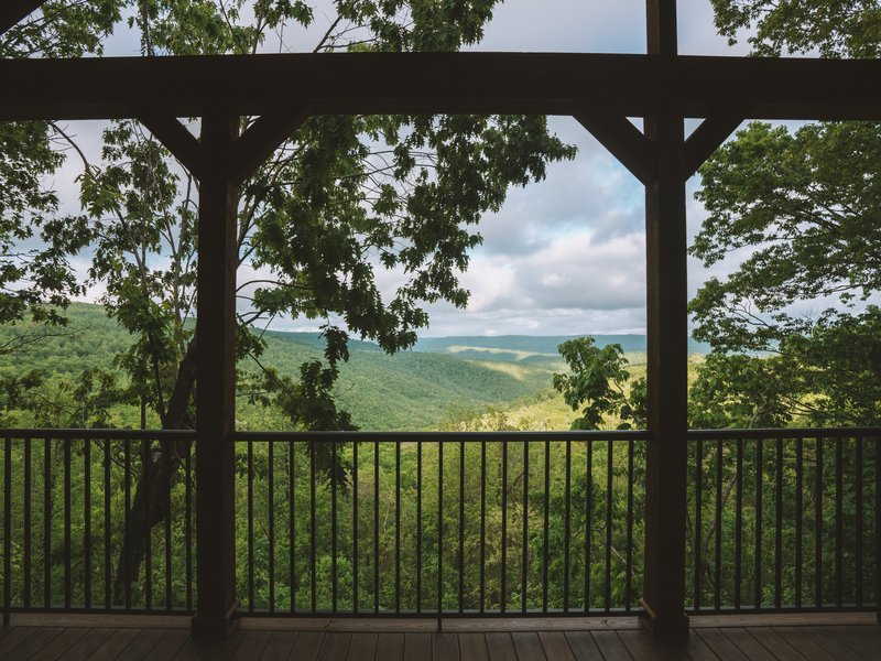 The Foxfire Cabin's incredible view over Buffalo River county.