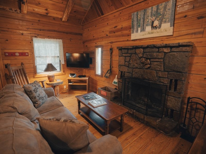 Living area with nativestone fireplace, Ponca Cabin 4