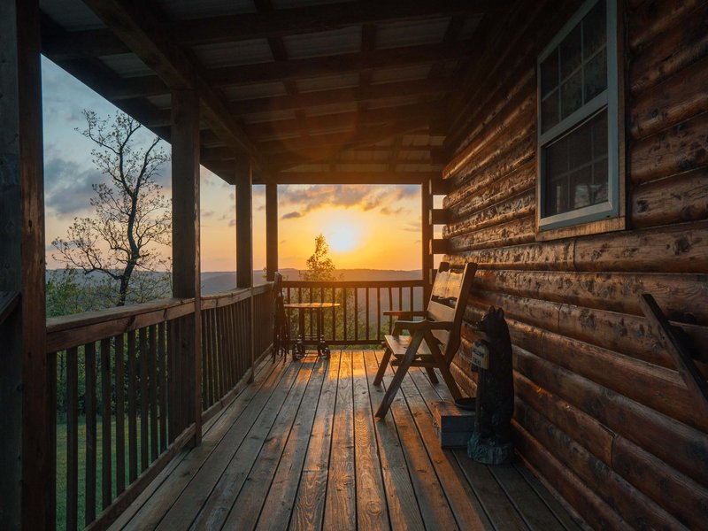 The Waterfall Cabin's cozy front porch.