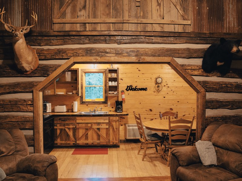 View of the Elkhorn Cabin's Living and kitchen areas