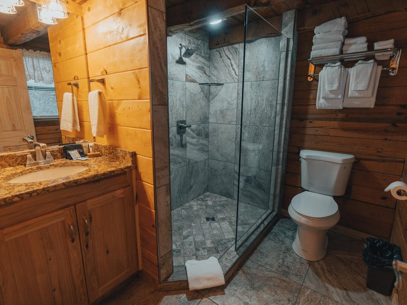 The cabin's fully furnished bathroom