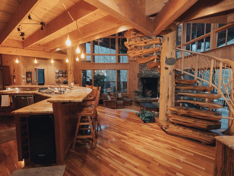 Cedar Crest Lodge features a spacious open floor plan with beautiful architectural appointments.