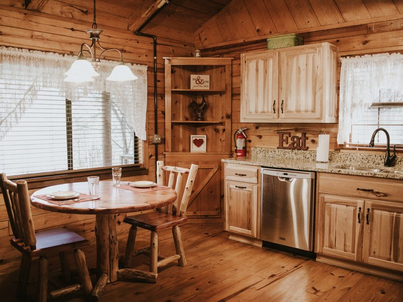 Another view of the cabin's lovely kitchen