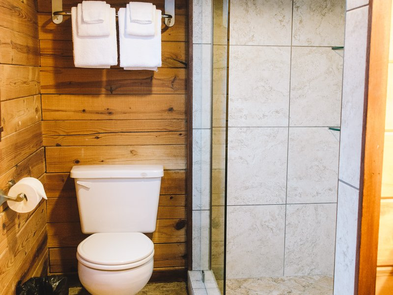 The cabin features a roomy tile shower.
