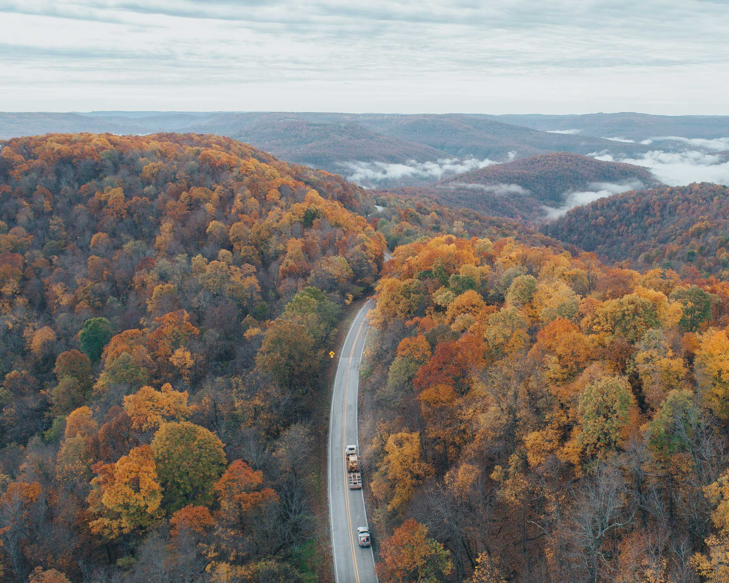 Scenic fall drive around the Buffalo River