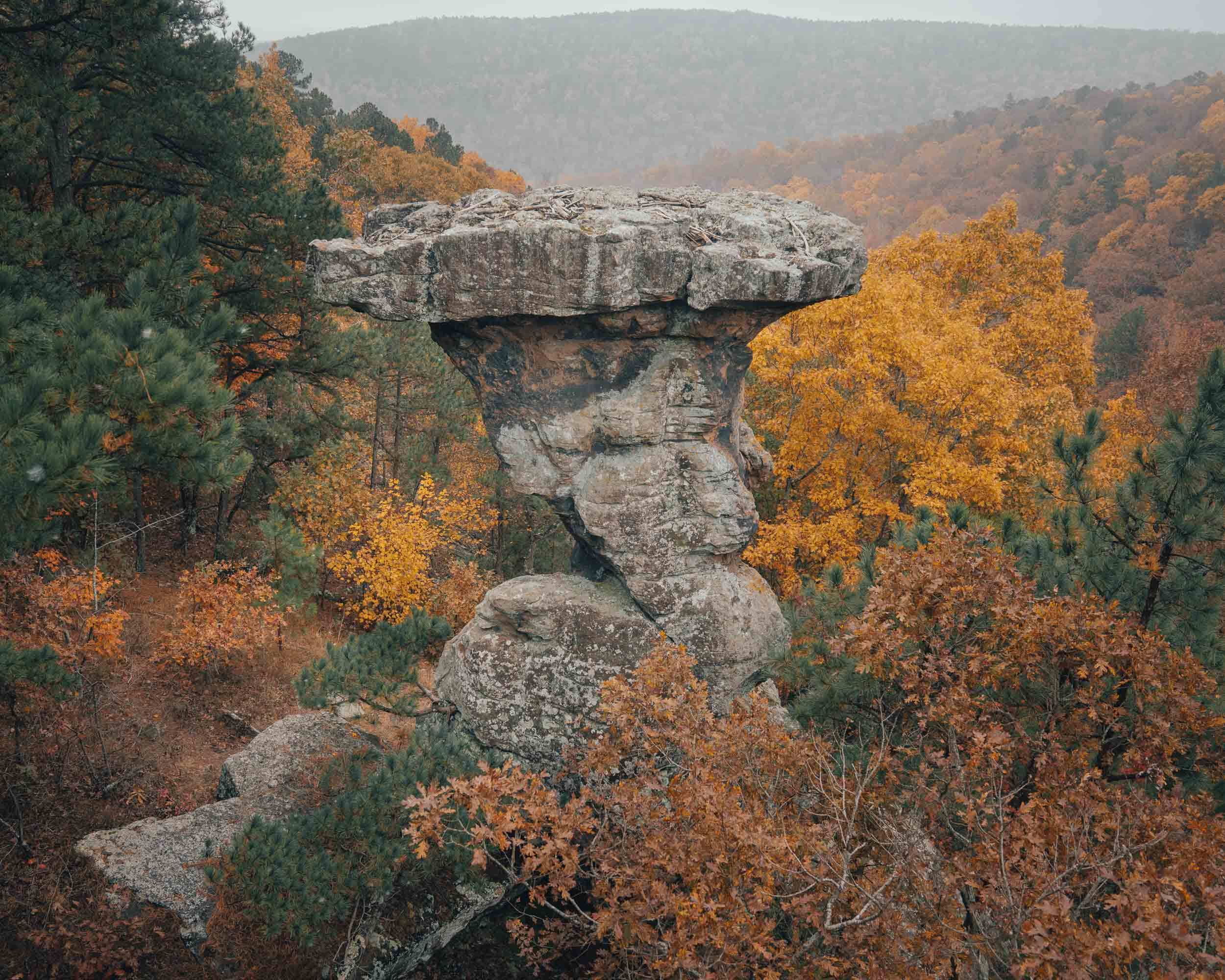 fall at pedestal rocks