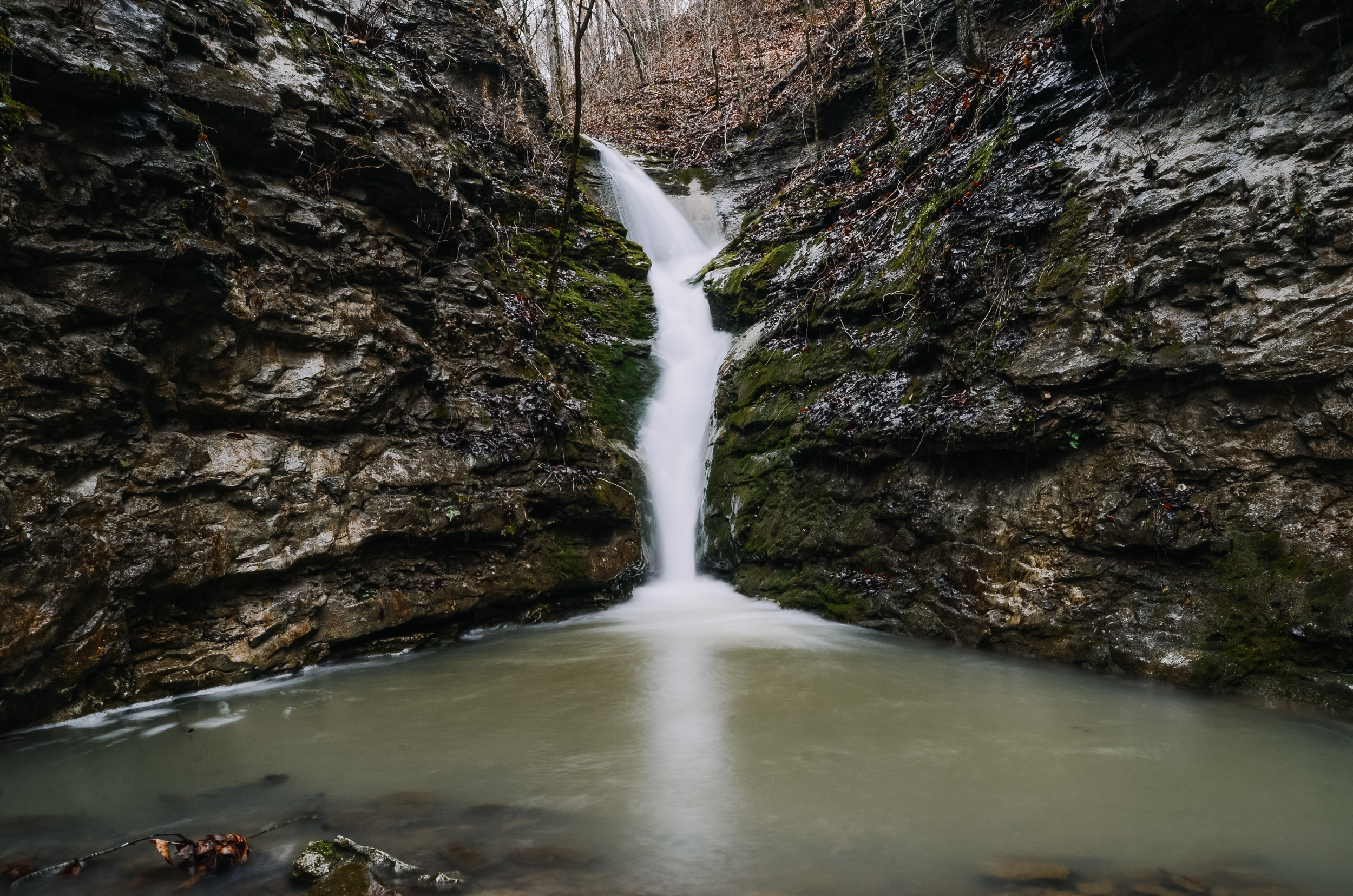 Waterfall cascades of the Smith Creek Preserve in Buffalo River Country
