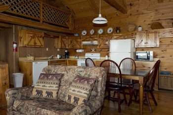 The kitchen / dining area of the Arkansas Cabin