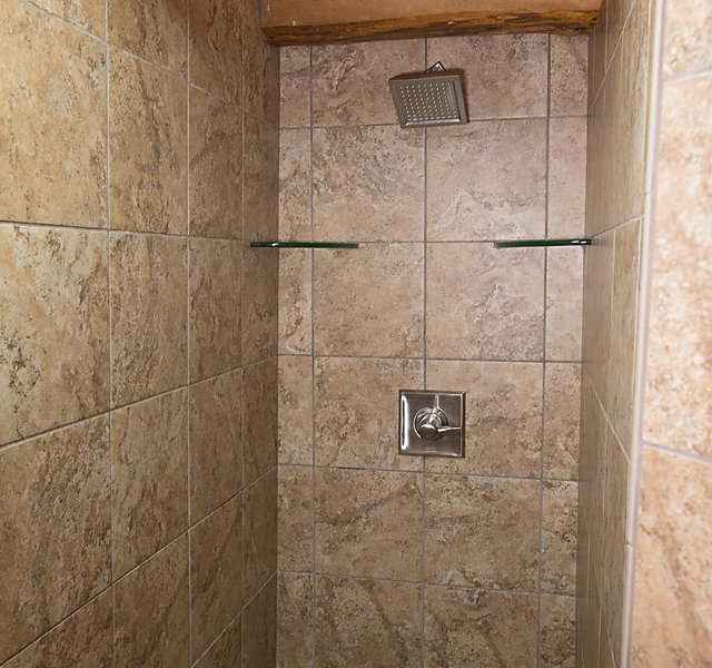 The Balloon Cabin's spacious walk-in shower.