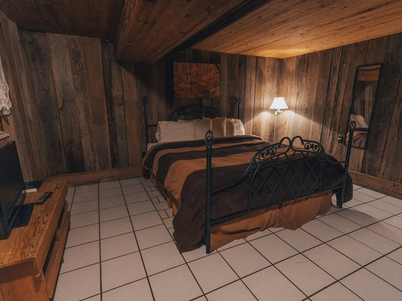The cabin's downstairs bedroom features a queen-size bed.