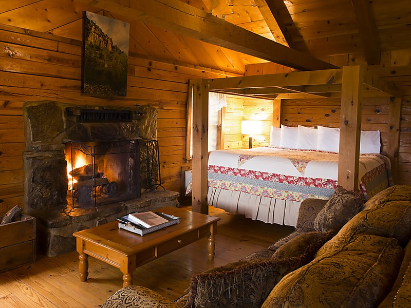 The cozy interior of the Mountain Sunrise Cabin.