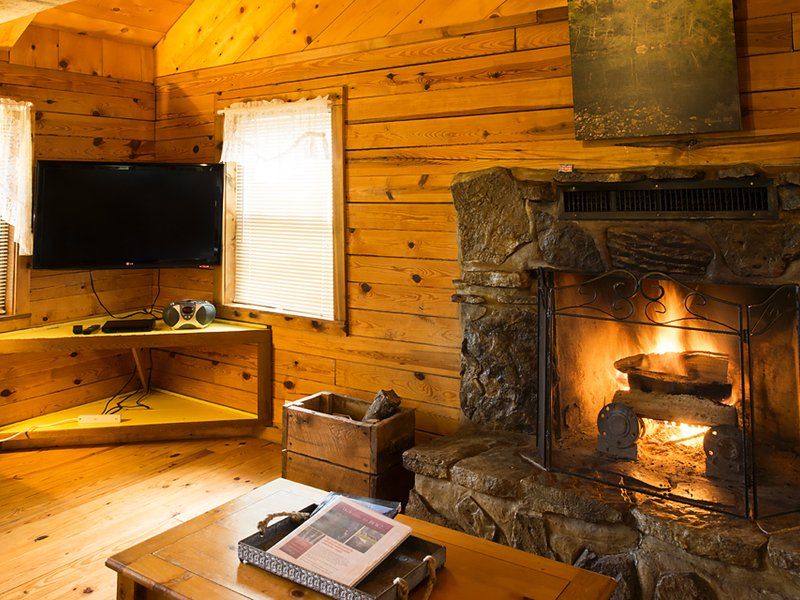 The Mountain Sunrise cabin features a large, flat-screen Smart TV with DVD player..