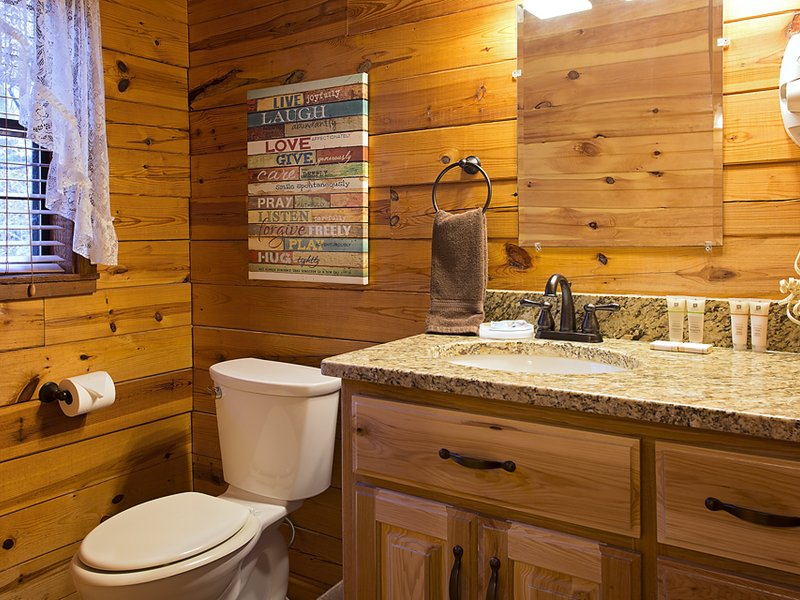The cabin's bathroom vanity area (spacious tile shower not pictured).