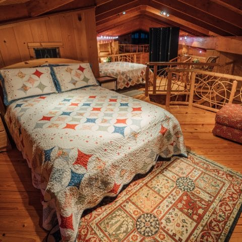 Sleeping loft with two full-size beds