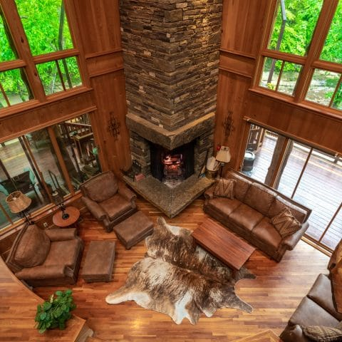 Ponca Creek Lodge features a gorgeous, open living area with a fantastic nativestone fireplace as its focal point.