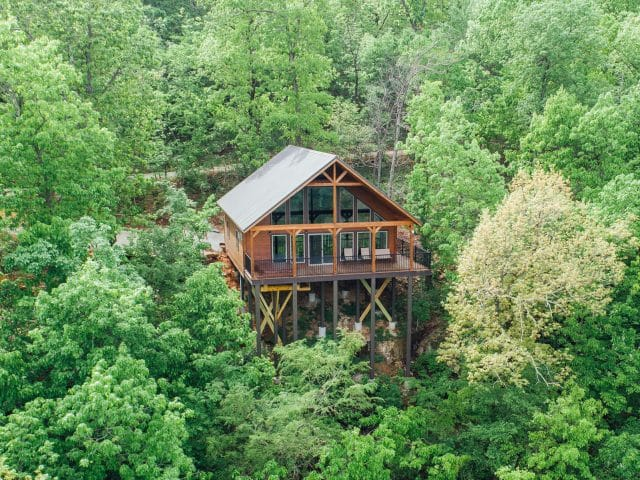 Immerse yourself in the treetops of the Ponca Wilderness in the Morning Glory Cabin.