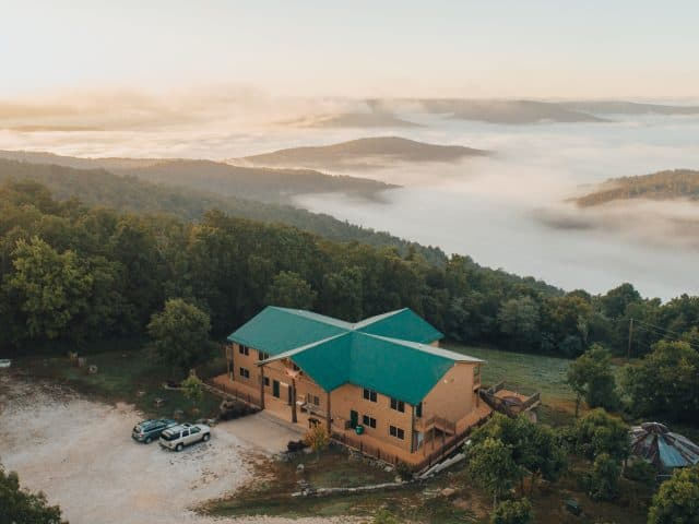 RiverWind Lodge's vast view across the upper Buffalo River wilderness and Arkansas's finest scenery.