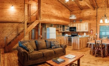 There's plenty of room for family and friends in the Windridge Cabin's spacious living area.