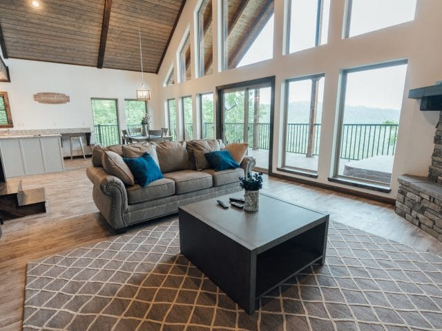 The fabulous, window-studded living area of the WIldwood Cabin gives your family or friends plenty of room to relax.