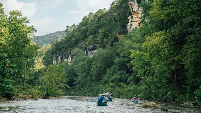 Towering bluffs along the upper Buffalo National River between Ponca and Kyle's Landing.