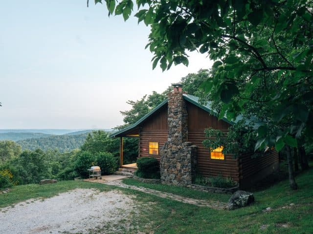 You'll love the romantic, sweeping view across the upper Buffalo River wilderness and secluded setting at the Arkansas Cabin.