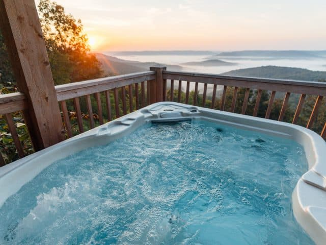 Possibly Arkansas's best view from an outdoor hot tub deck is all yours at Cabin X.