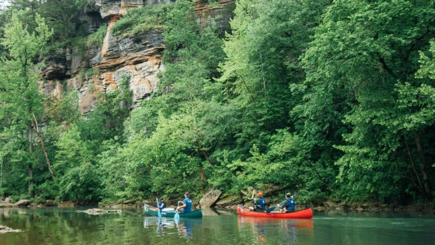 Enjoy long pools and good fishing on the Buffalo River between Pruitt and Hasty.