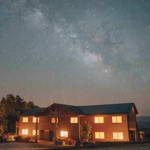 The Milky Way over the Riverwind Lodge.