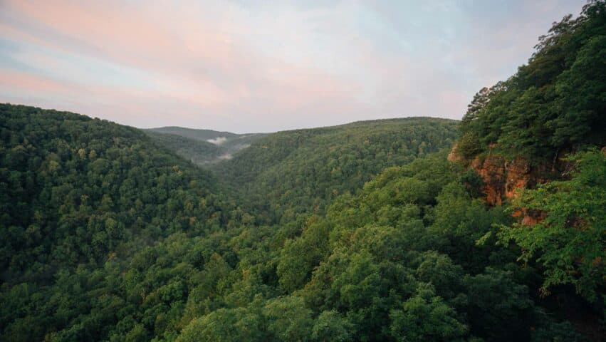 A view over the valley during morning from Whitaker Point / Hawksbill Crag.