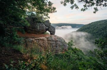 A view of balanced rocks and morning fog from Whitaker Point / Hawksbill Crag.
