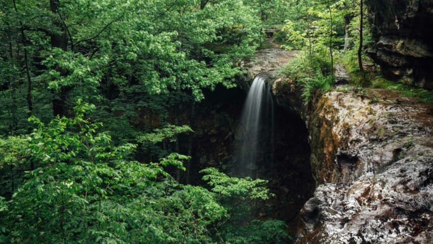 View from the top of Hideout Hollow Falls.