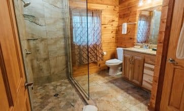 The beautiful ceramic tile walkin shower of the Valley Dream Cabin.