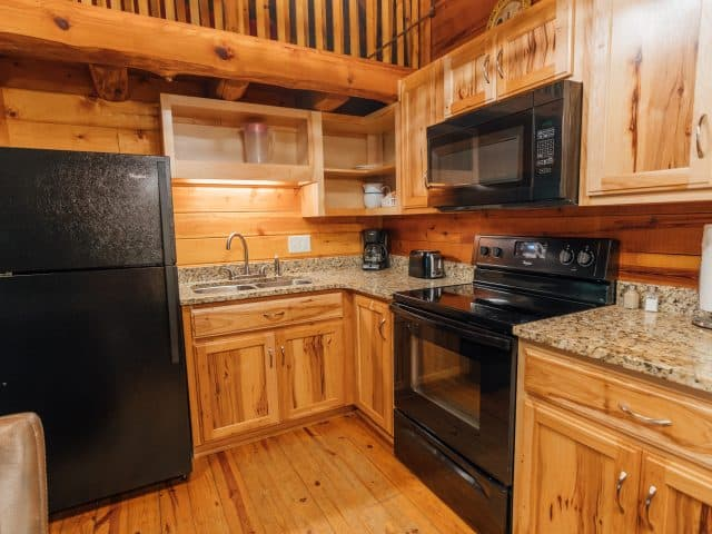 Cabin 1's kitchen is fully appointed and furnished with all the basics you need to prepare a great family meal.