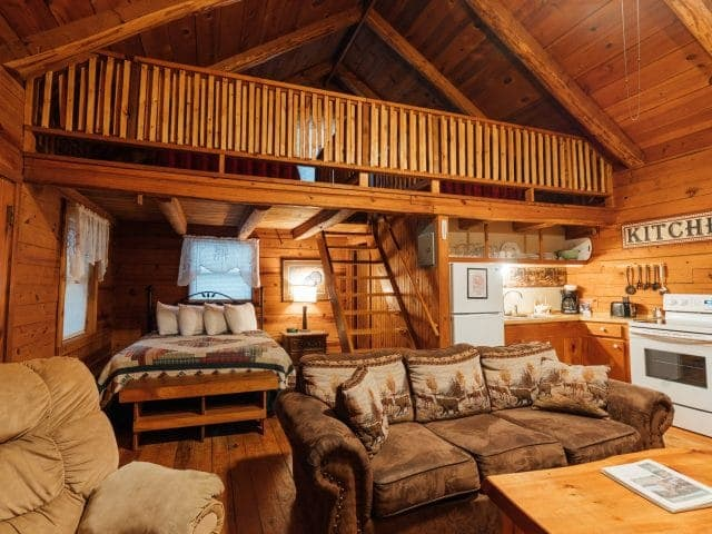 Treat your family to the cozy comforts of the Crossbow Cabin and its open floor plan with woodburning fireplace.