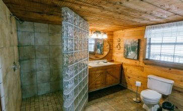 You'll enjoy a super spacious tile walk-in shower in the Buffalo River Cabin.