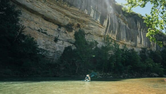 Float beneath beautiful bluffs along the upper Buffalo National River between Ponca and Woolum.