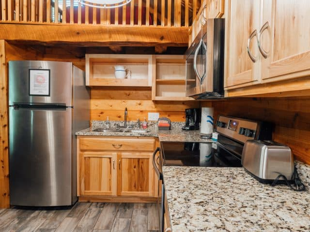 Cabin 2 has a fully-furnished kitchen, giving you all the essentials for preparing a hearty family meal.