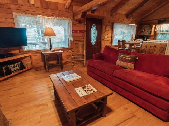 Kick back in the cozy comfort of the Mountain Magic Cabin and its woodburning fireplace.