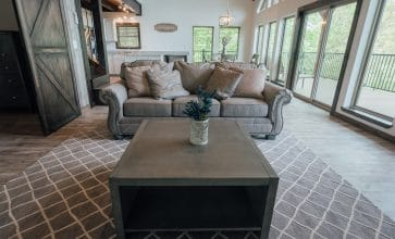 Surround yourself with elegance in the living room of the Morning Glory Cabin.
