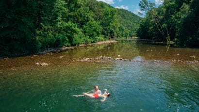 Couple swimming in Buffalo River
