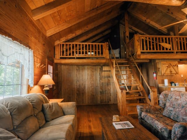 The Arkansas Cabin and its roomy living area is a guest favorite for romantic getaways and gatherings of friends.