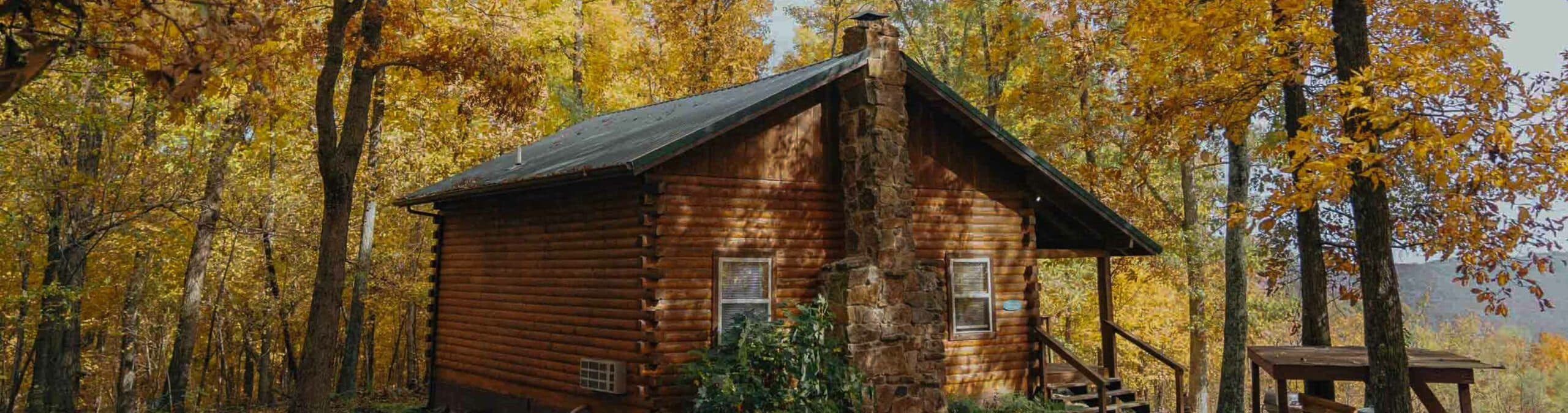 exterior cabin in fall
