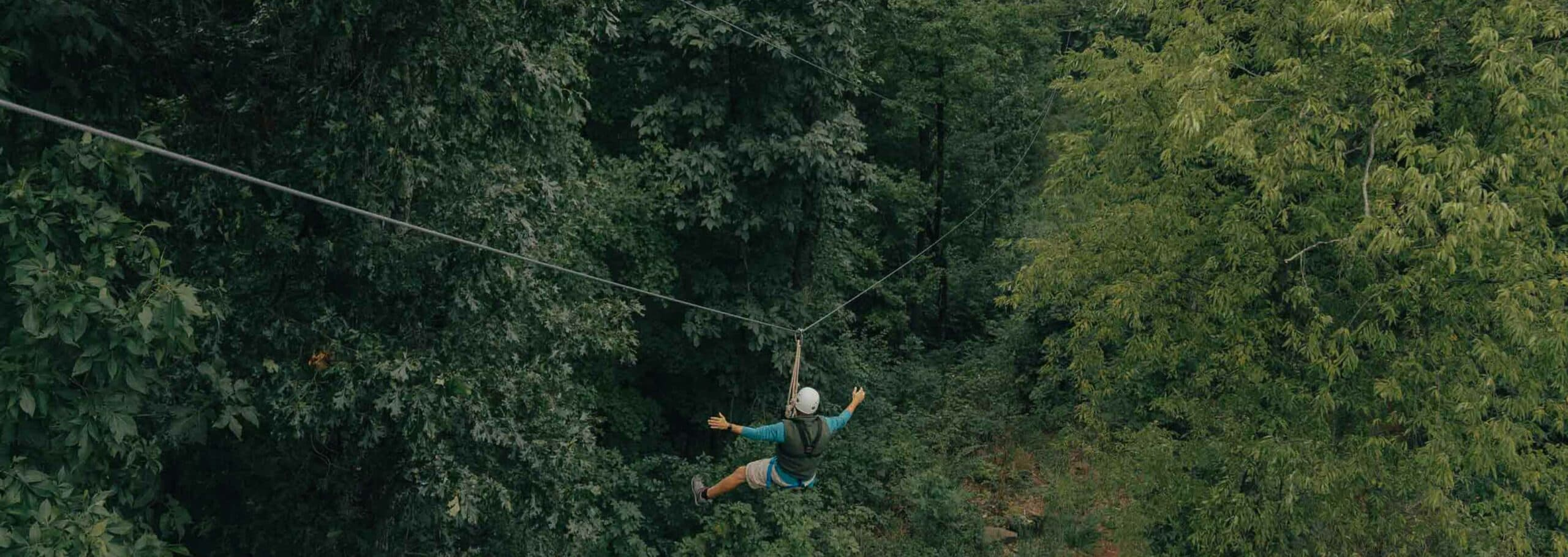adult ziplining through trees