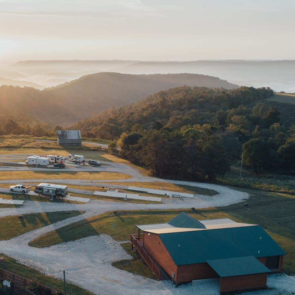 BOC's RV park offers guests a beautiful sunrise view across the Ozark Mountains and upper Buffalo National River country.
