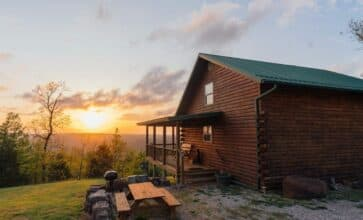 Enjoy stunning sunsets from the porch of the Waterfall Cabin.