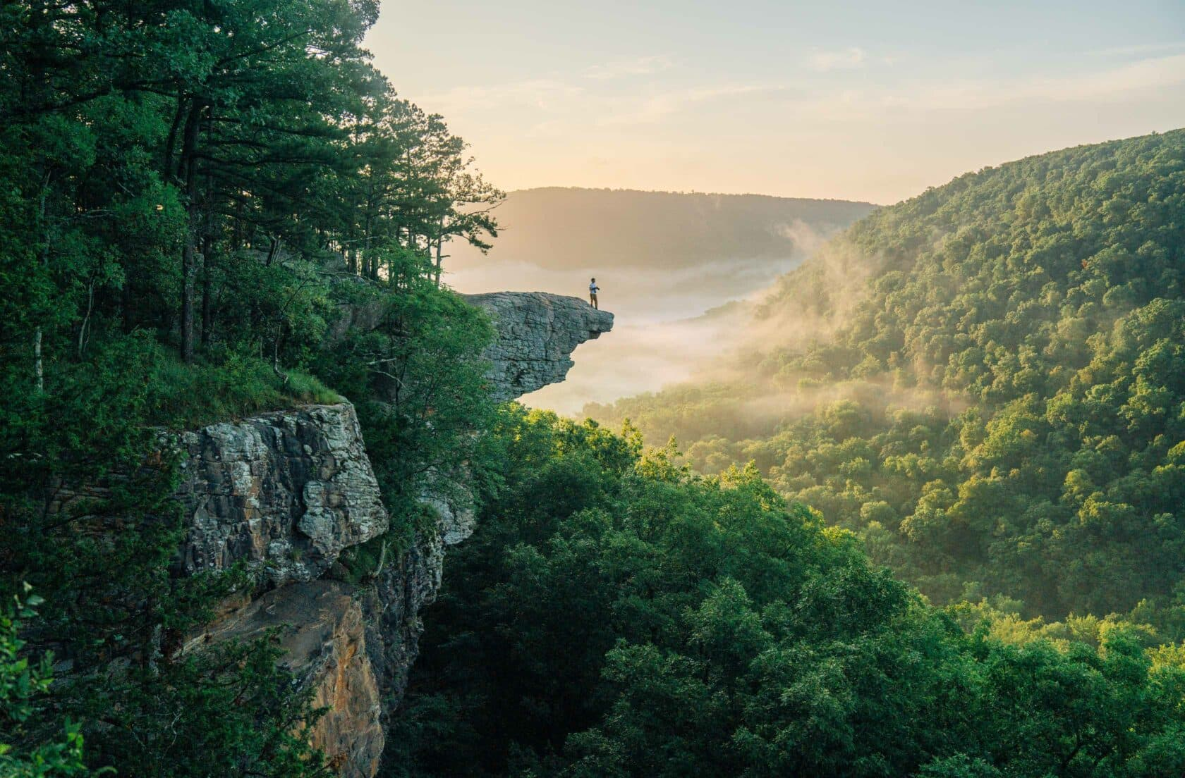 A hiker on Whitaker Point / Hawksbill Crag at Sunrise