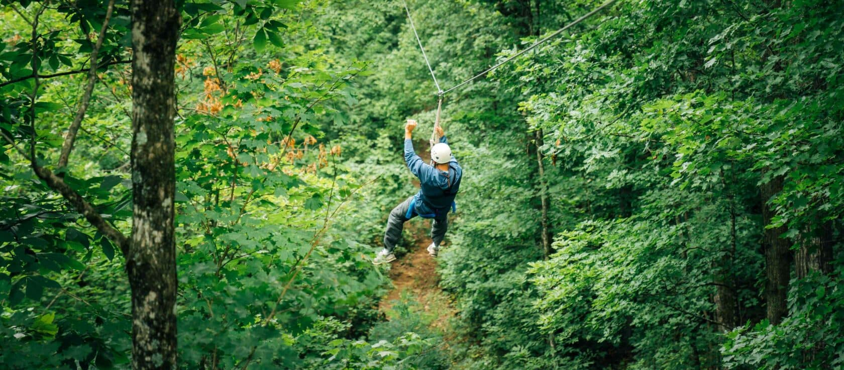 A man zipping the the tree canopy on The Buffalo River Canopy Tour.