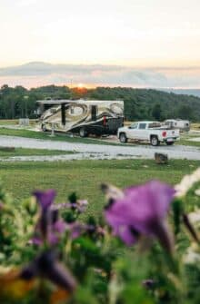 Spring flowers and sunrise at The BOC RV Park.